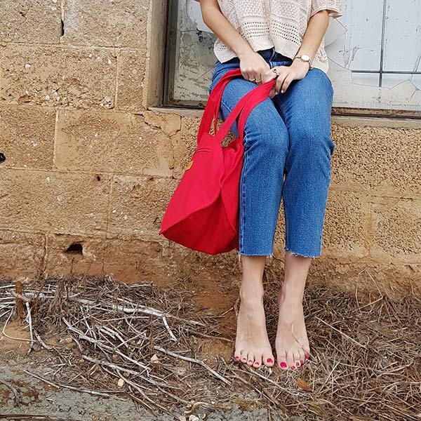 תיקים לנשים מעוצבים - תיק צד אדום