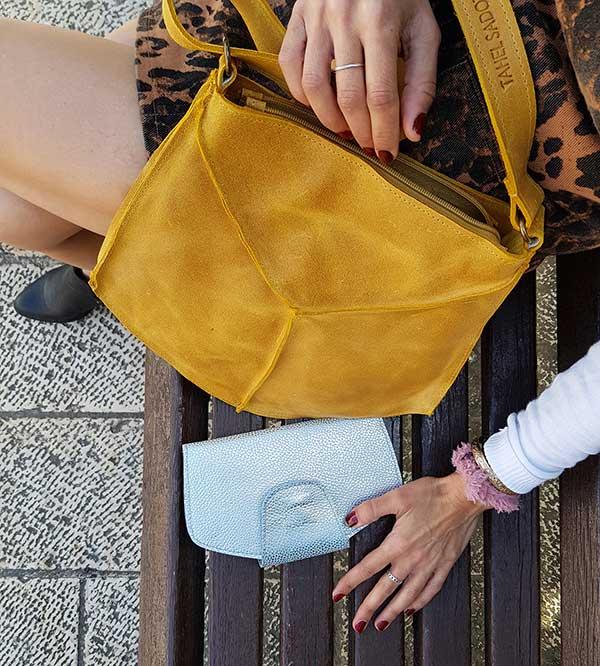 תיק צהוב מעור