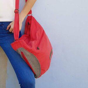 תיק צד לנשים בד צבע אדום