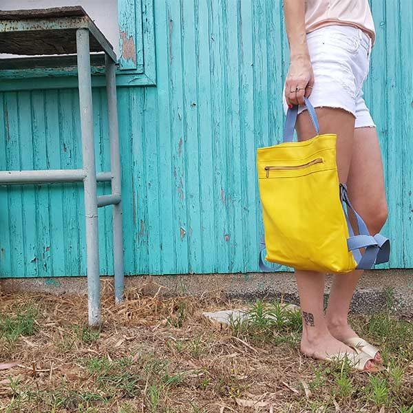 תיק צהוב לנשים טבעוני