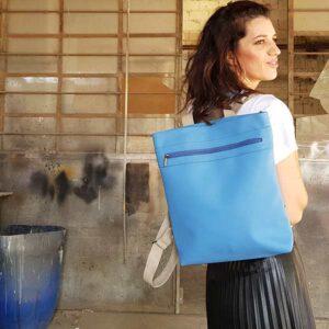 תיק טבעוני לגב צבע תכלת