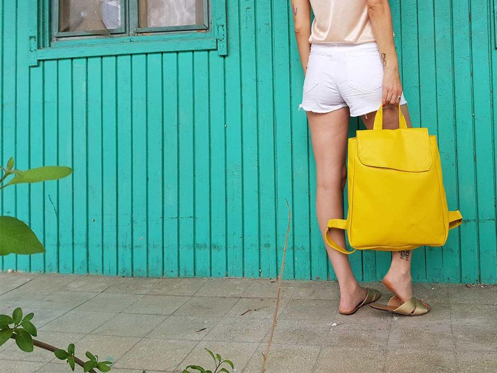 תיק גב צהוב לא עור